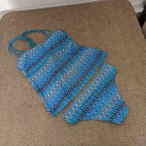 Hula Honey Blue Knit Tankini M NWOT